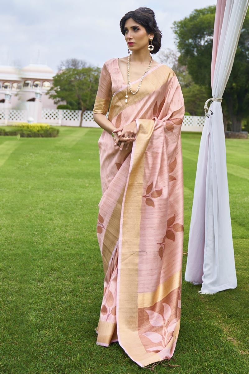 Peach Color Festive Wear Classic Art Silk Fabric Handloom Weaving Work Saree