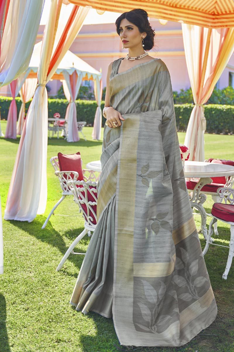 Art Silk Fabric Festive Wear Classic Grey Color Handloom Weaving Work Saree
