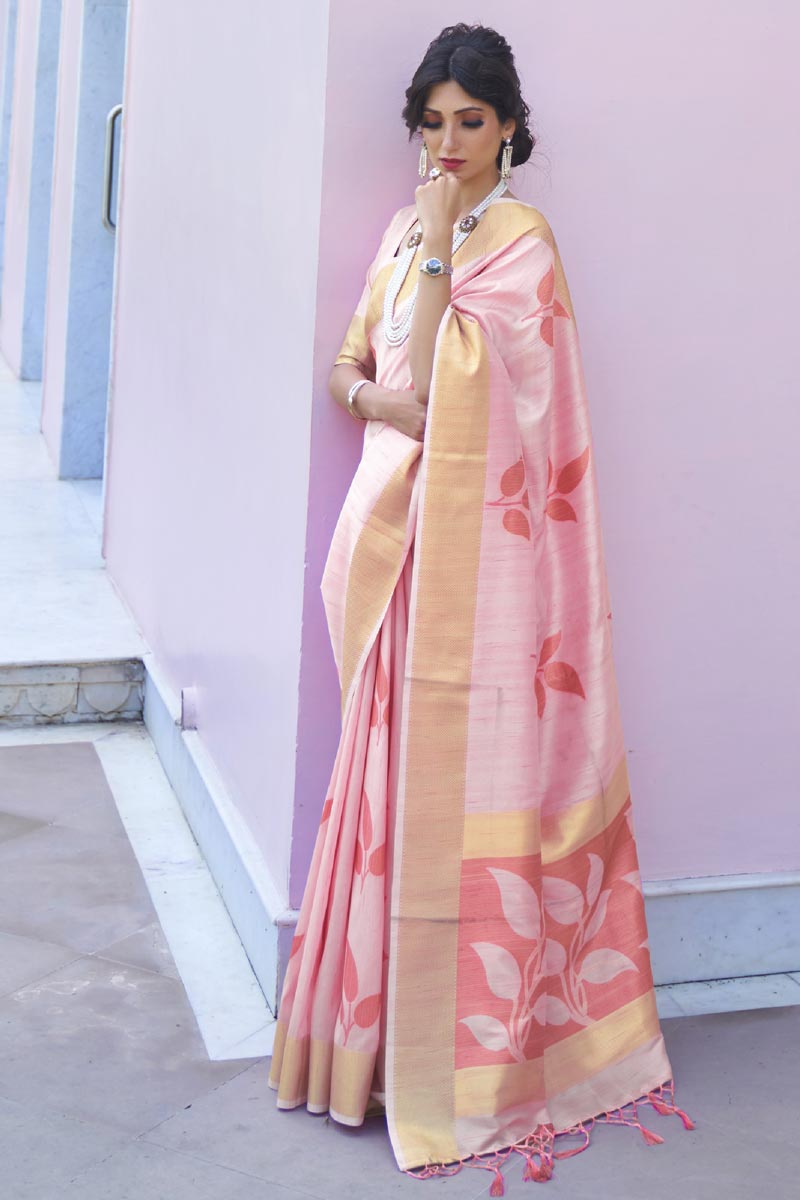 Pink Color Festive Wear Art Silk Fabric Classic Handloom Weaving Work Saree