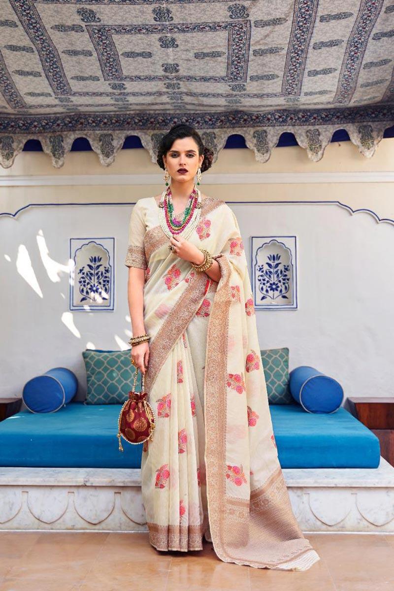 Sangeet Wear Linen Fabric Classic Weaving Work Beige Color Saree