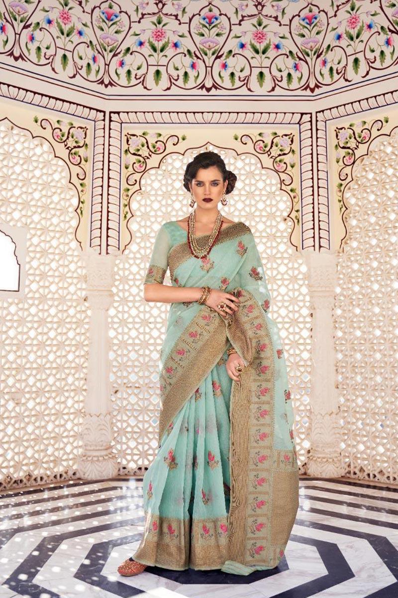 Linen Fabric Sangeet Wear Classic Cyan Color Weaving Work Saree