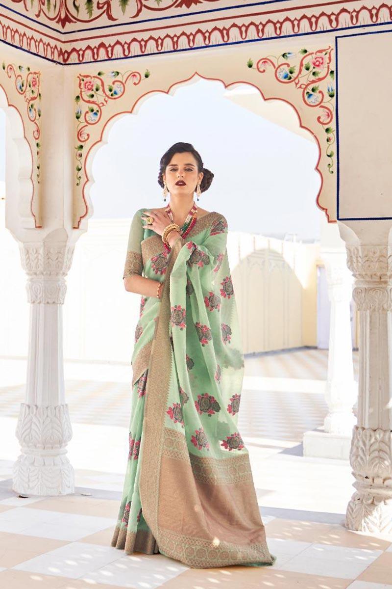 Linen Fabric Sangeet Wear Classic Sea Green Color Weaving Work Saree