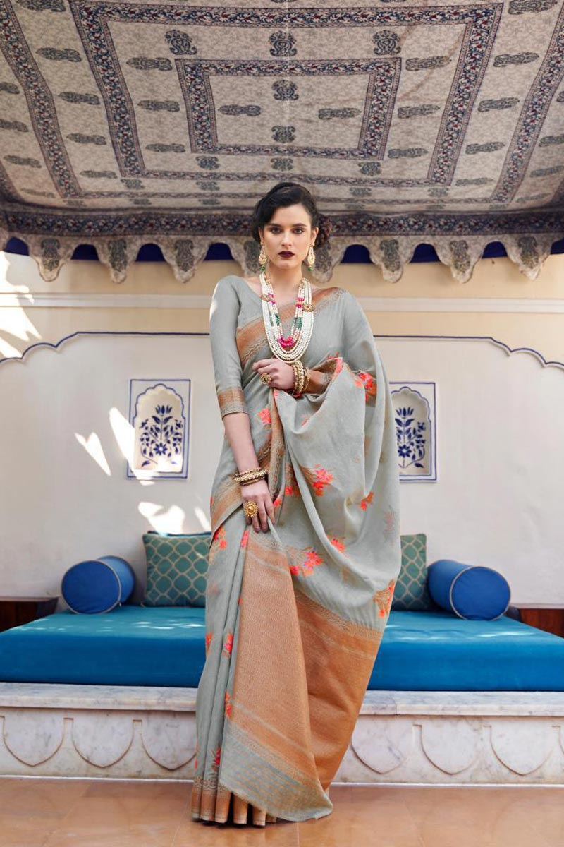 Classic Sangeet Wear Grey Color Weaving Work Saree In Linen Fabric