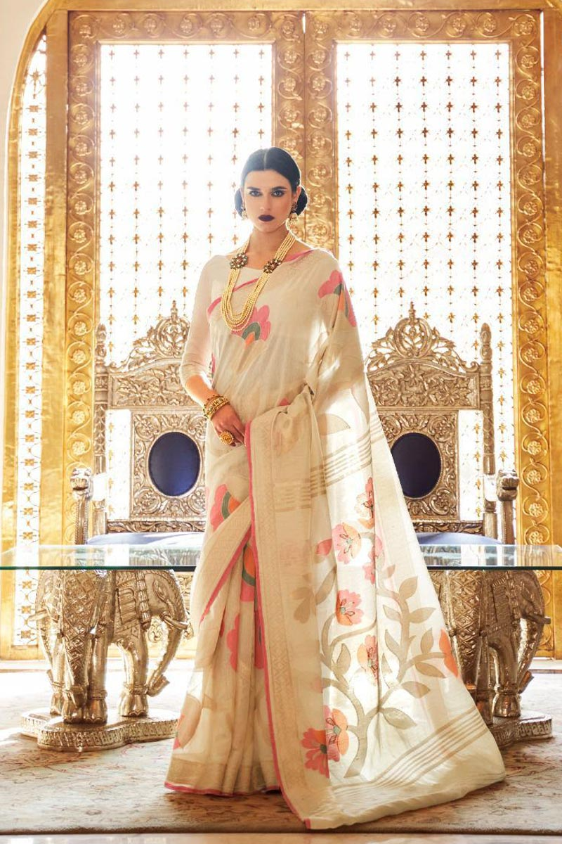 Elegant Traditional Wear Beige Color Weaving Work Saree In Linen Fabric