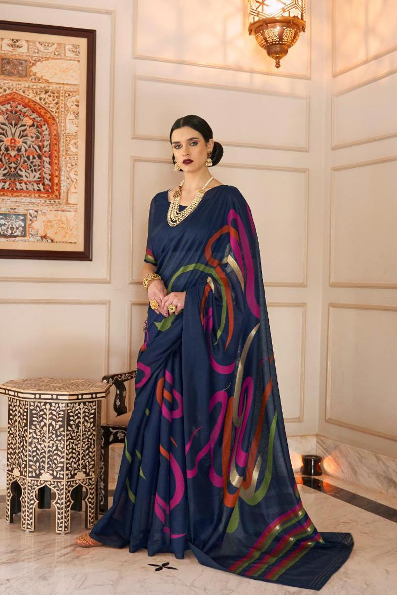 Traditional Wear Linen Fabric Elegant Weaving Work Navy Blue Color Saree
