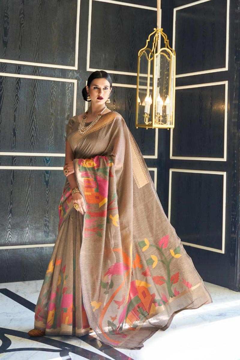 Traditional Wear Linen Fabric Elegant Weaving Work Dark Beige Color Saree