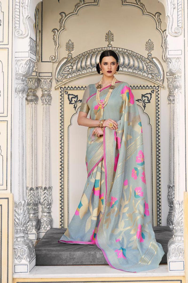 Grey Color Traditional Wear Elegant Linen Fabric Weaving Work Saree