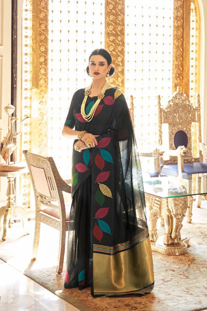 Traditional Wear Linen Fabric Elegant Weaving Work Saree In Black Color