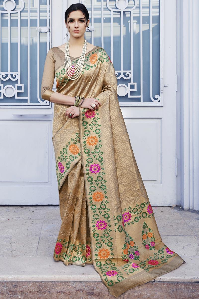 Festive Wear Art Silk Fabric Stylish Chikoo Color Weaving Work Saree
