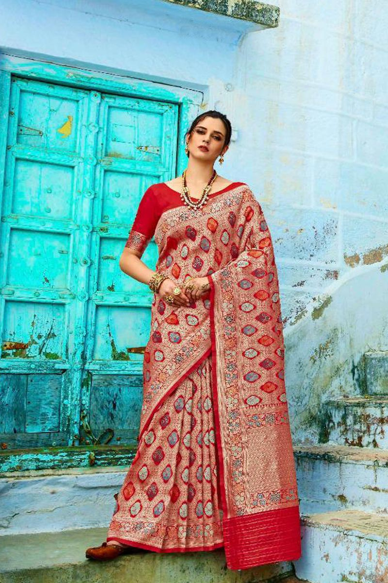 Art Silk Chic Festive Wear Red Weaving Work Saree