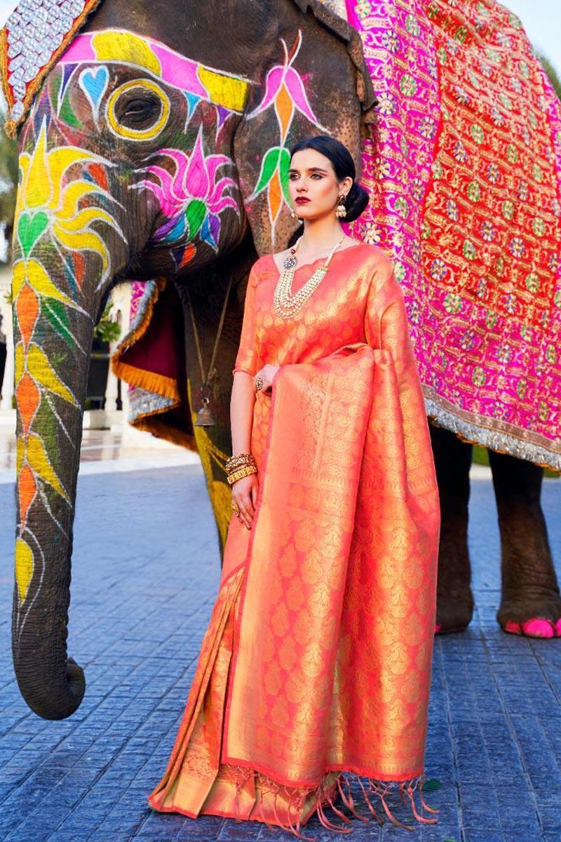 Art Silk Fabric Stylish Party Wear Orange Color Weaving Work Saree