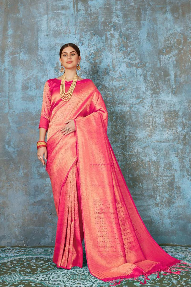 Art Silk Fabric Party Wear Stylish Weaving Work Saree In Pink Color