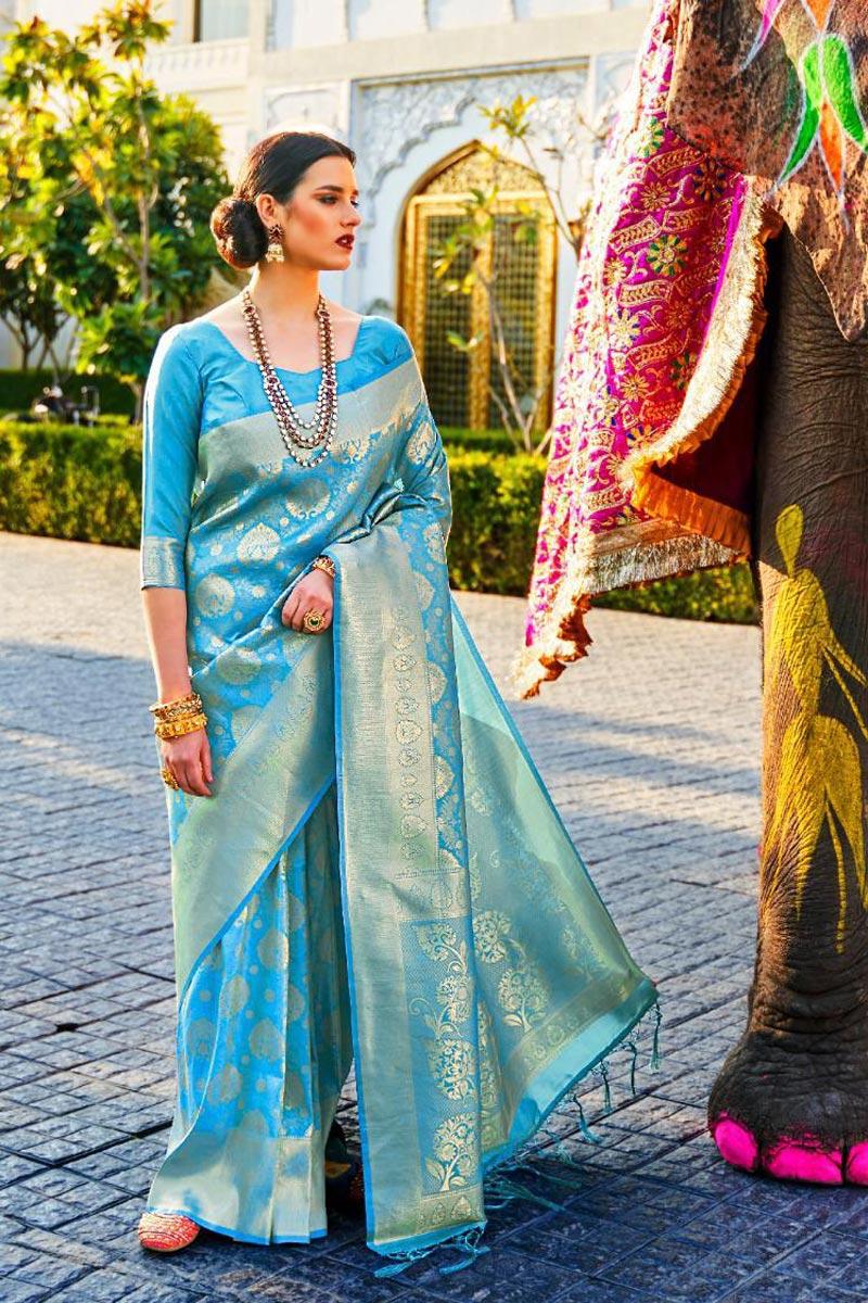 Sky Blue Color Party Wear Stylish Art Silk Fabric Weaving Work Saree
