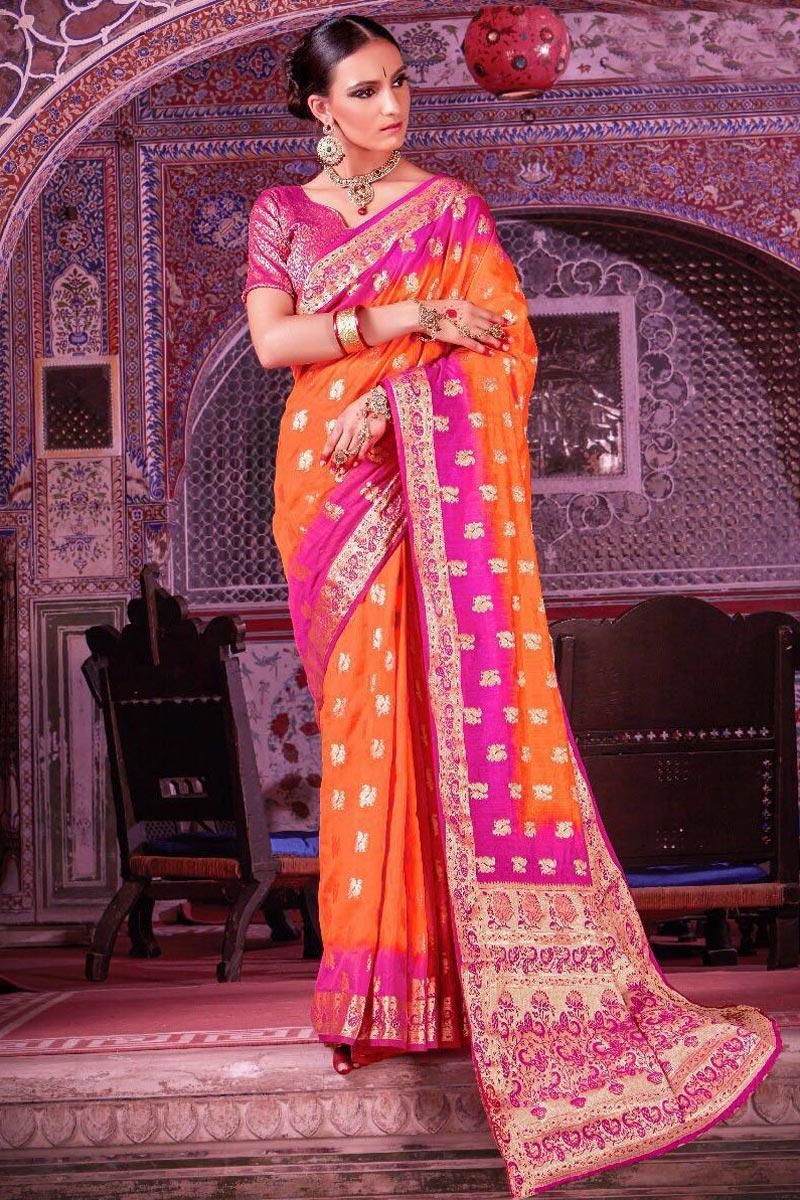 Art Silk Orange Sangeet Wear Designer Saree With Weaving Work