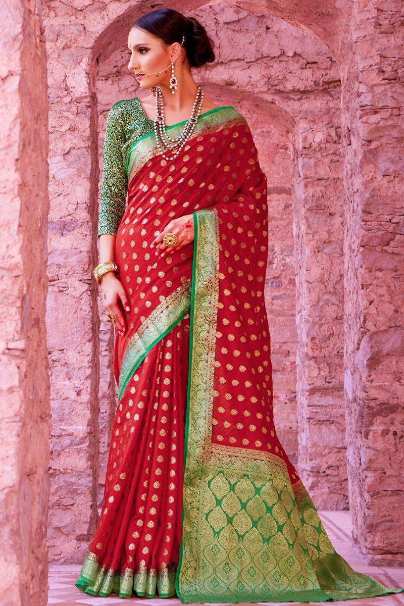 Sangeet Wear Designer Maroon Weaving Work Saree In Art Silk