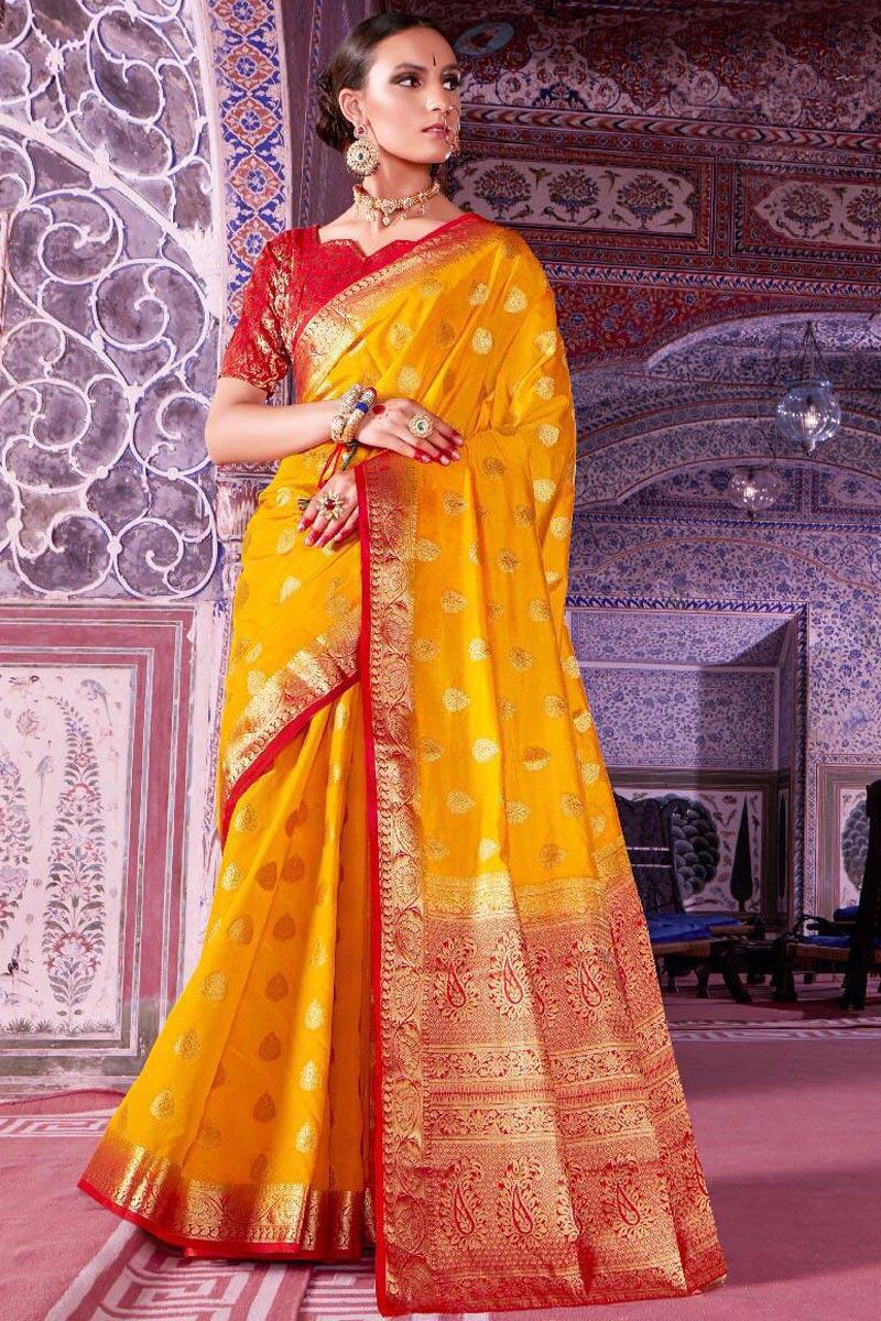 Sangeet Function Wear Mustard Designer Art Silk Saree With Weaving Work