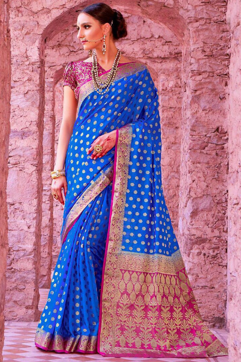 Sangeet Wear Designer Art Silk Weaving Work Saree In Blue