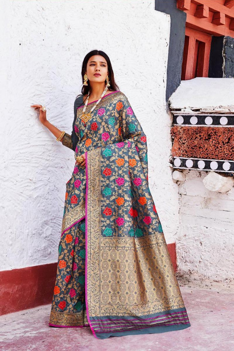 Grey Art Silk Function Wear Fancy Weaving Work Saree