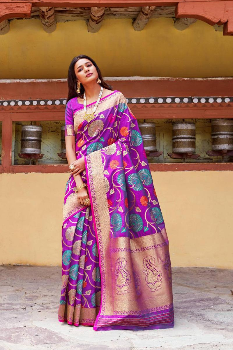 Function Wear Fancy Magenta Art Silk Weaving Work Saree