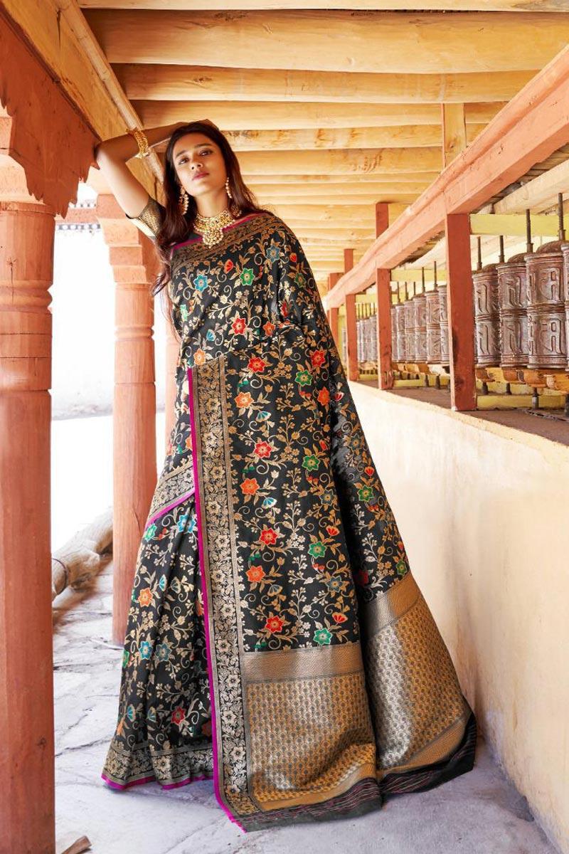 Black Function Wear Fancy Weaving Work Saree In Art Silk
