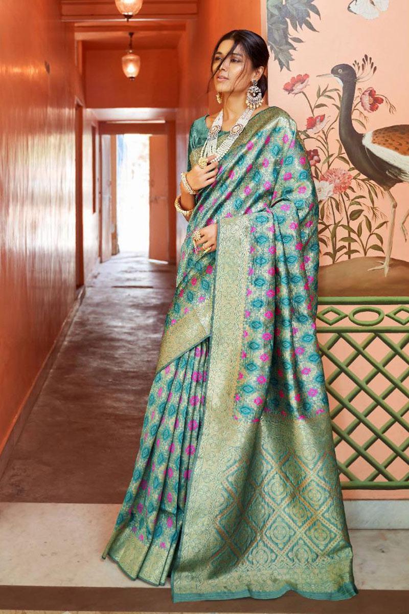 Art Silk Fabric Teal Occasion Wear Saree Weaving Work