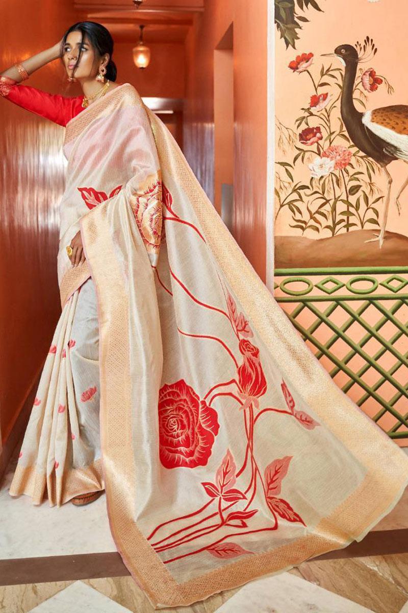 Function Wear Art Silk Fabric Saree In Beige With Weaving Work