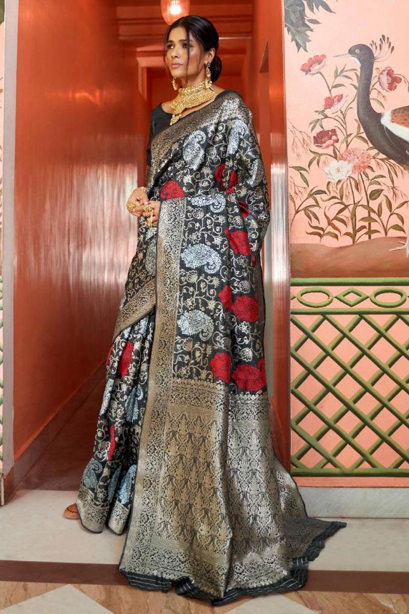 Fancy Weaving Work On Art Silk Fabric Black Color Designer Saree