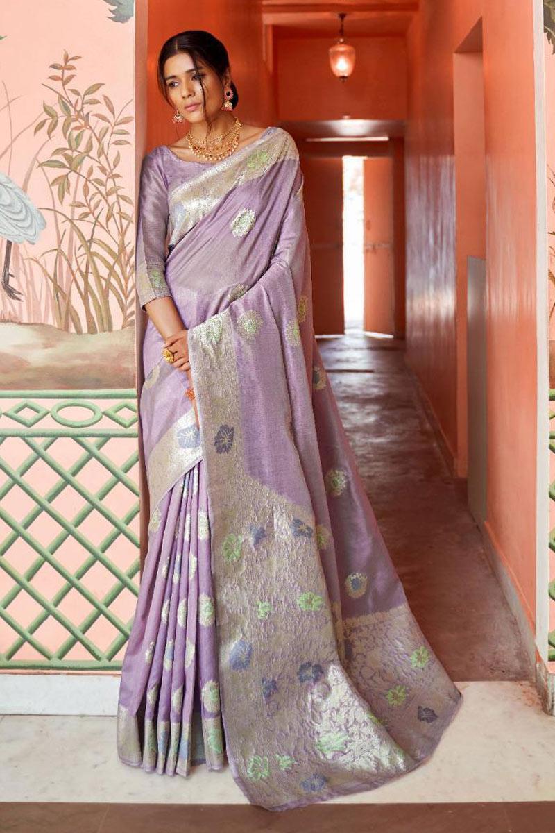 Lavender Art Silk Fabric Wedding Wear Saree With Weaving Work
