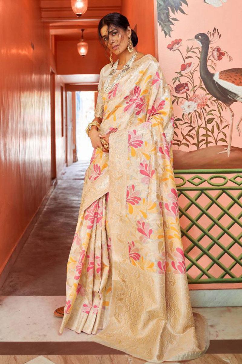 Beige Art Silk Fabric Function Wear Saree With Weaving Work