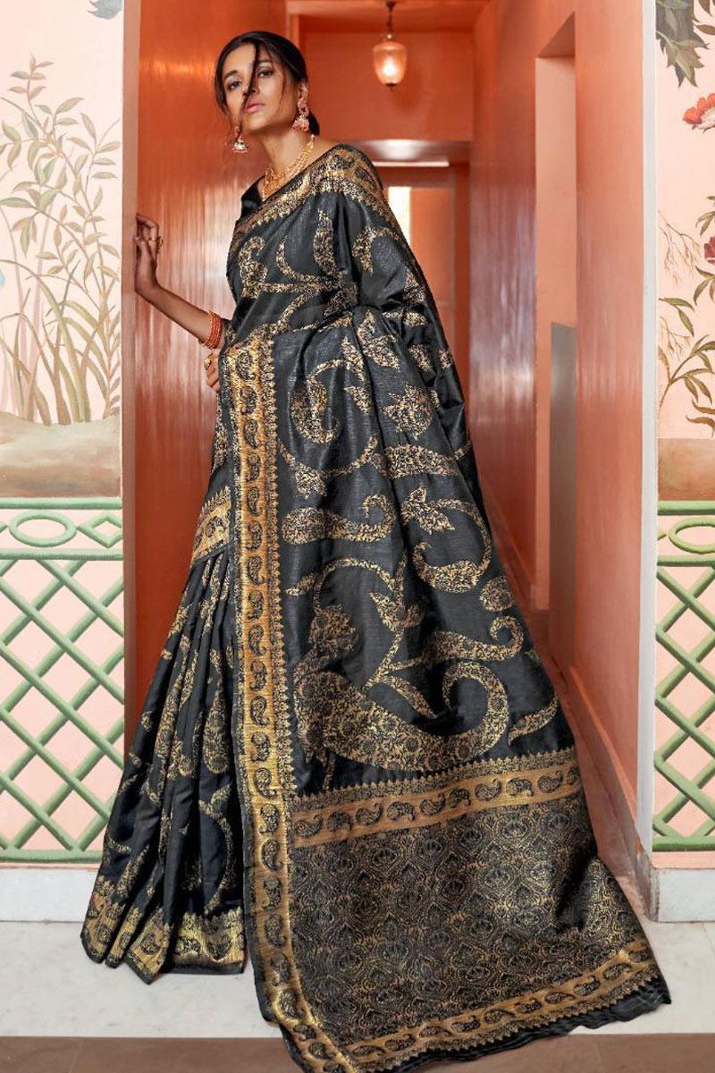 Art Silk Fabric Black Weaving Work Designer Saree