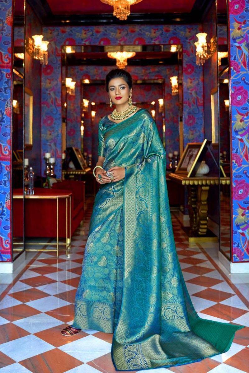Designer Sangeet Wear Art Silk Fabric Weaving Work Saree In Sky Blue