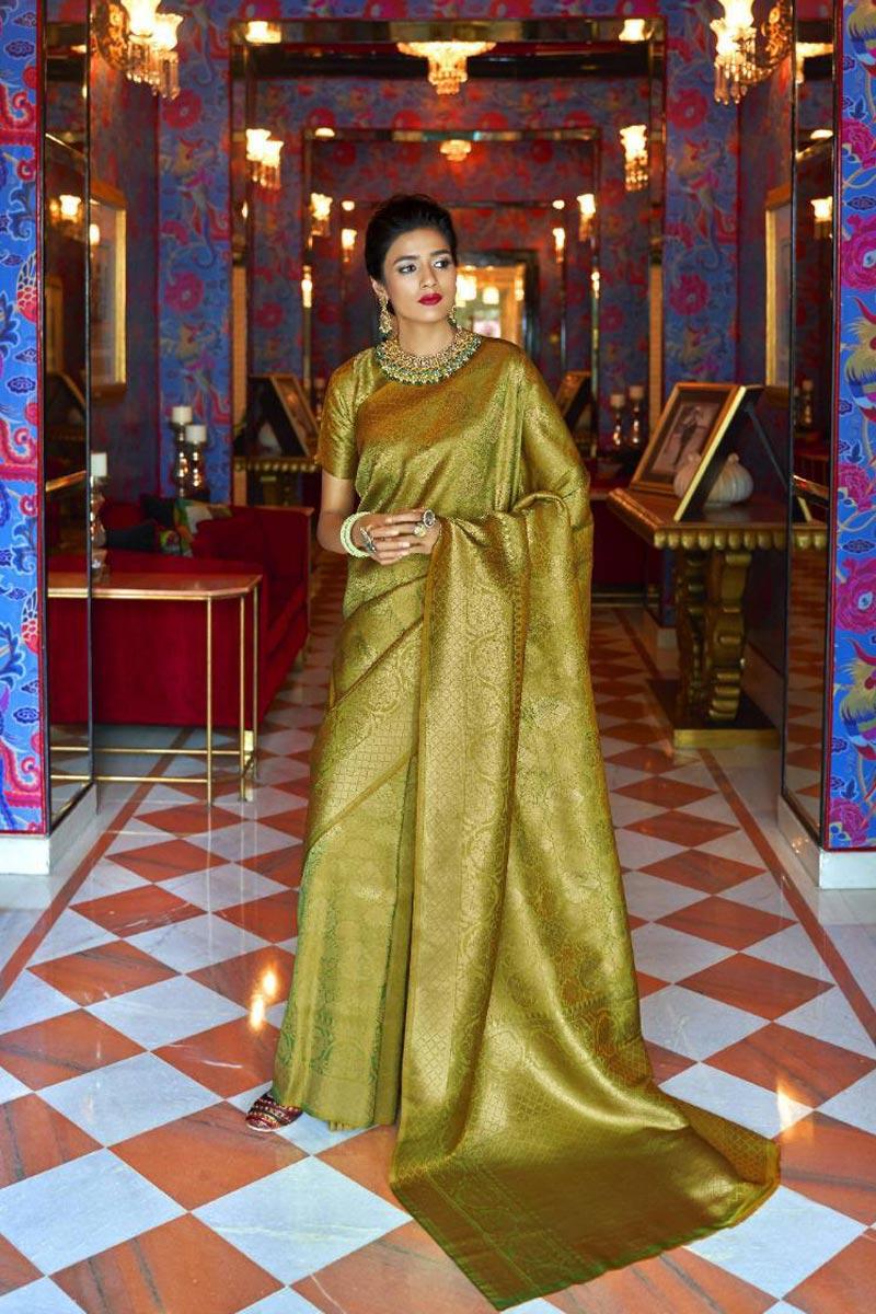 Mehendi Green Sangeet Wear Designer Weaving Work Saree In Art Silk Fabric
