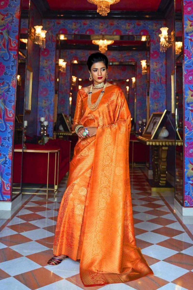 Sangeet Wear Orange Art Silk Fabric Designer Weaving Work Saree