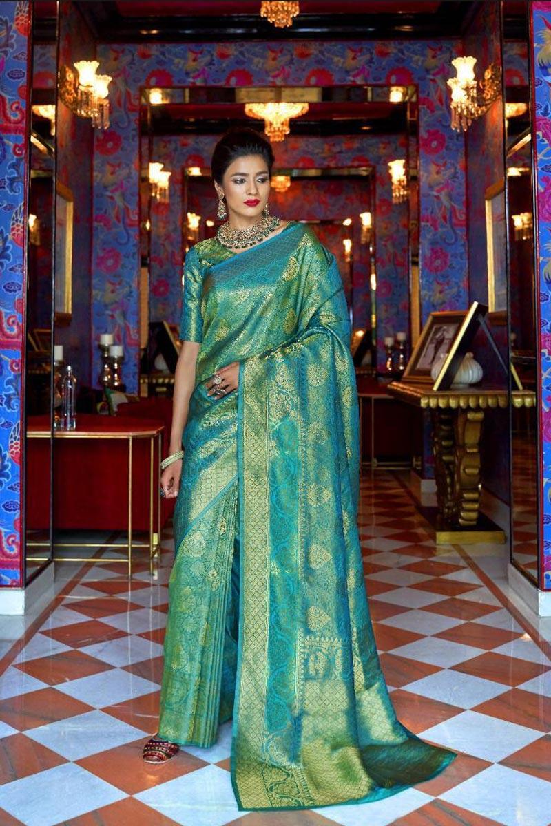 Sangeet Wear Cyan Designer Weaving Work Saree In Art Silk Fabric
