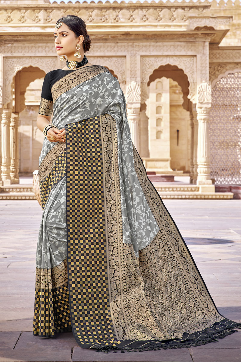 Grey Color Weaving Work On Banarasi Silk Fabric Occasion Wear Saree