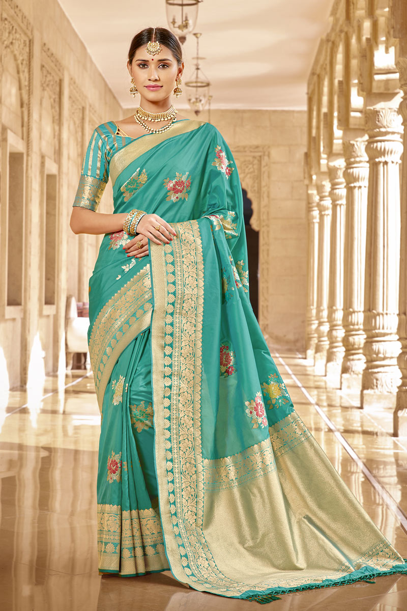 Weaving Work Light Turquoise Color Traditional Fancy Saree In Banarasi Silk Fabric