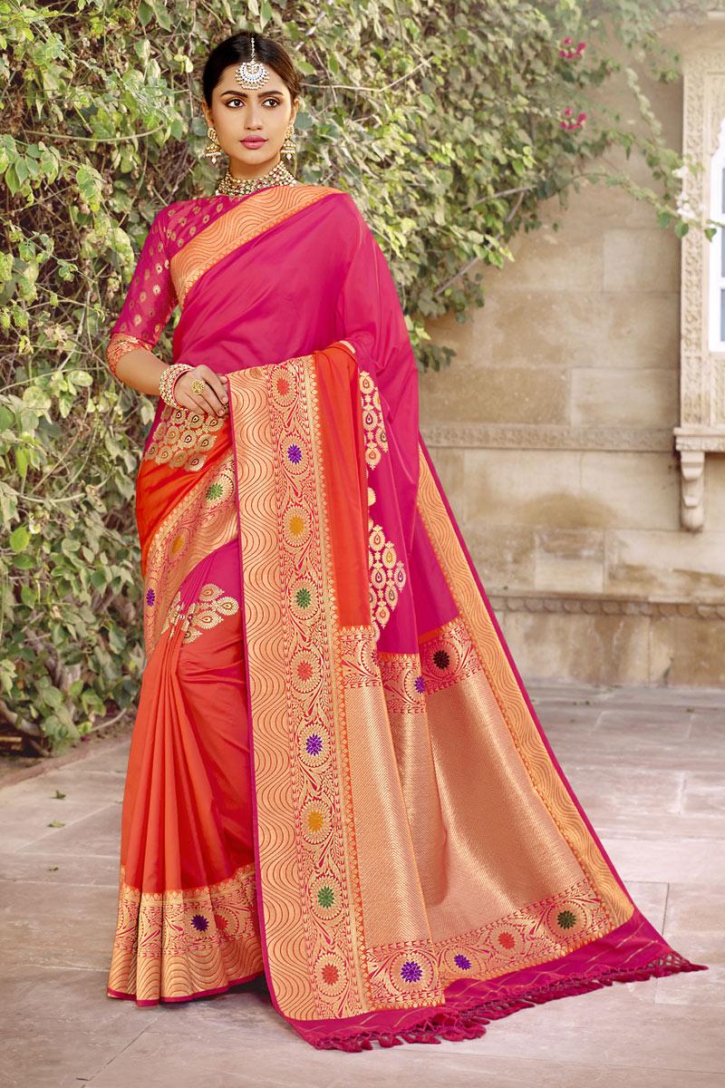 Weaving Work Banarasi Silk Fabric Rani Color Designer Saree
