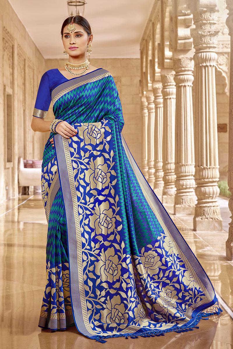 Fancy Banarasi Silk Fabric Blue Color Saree With Weaving Work