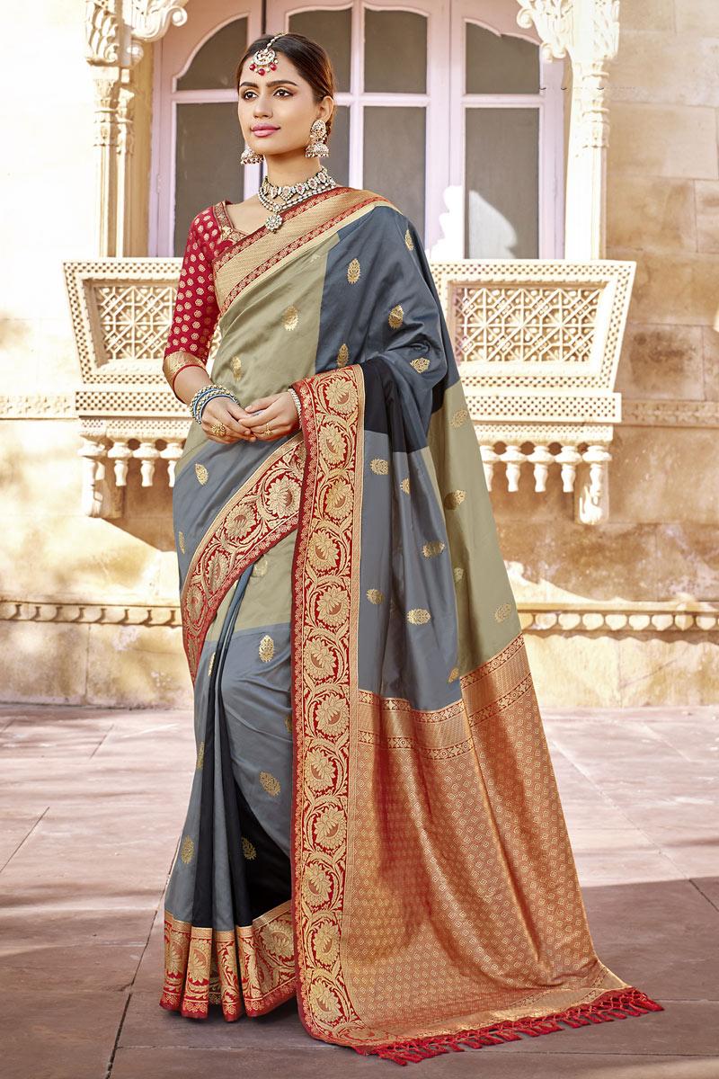 Grey Color Banarasi Silk Fabric Party Wear Saree With Weaving Work
