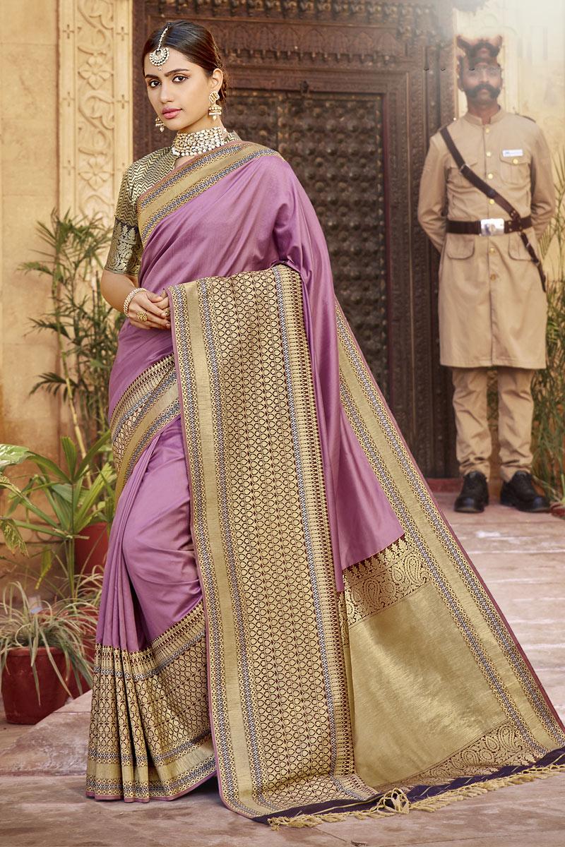 Weaving Work Designs On Banarasi Silk Fabric Function Wear Saree In Lavender Color