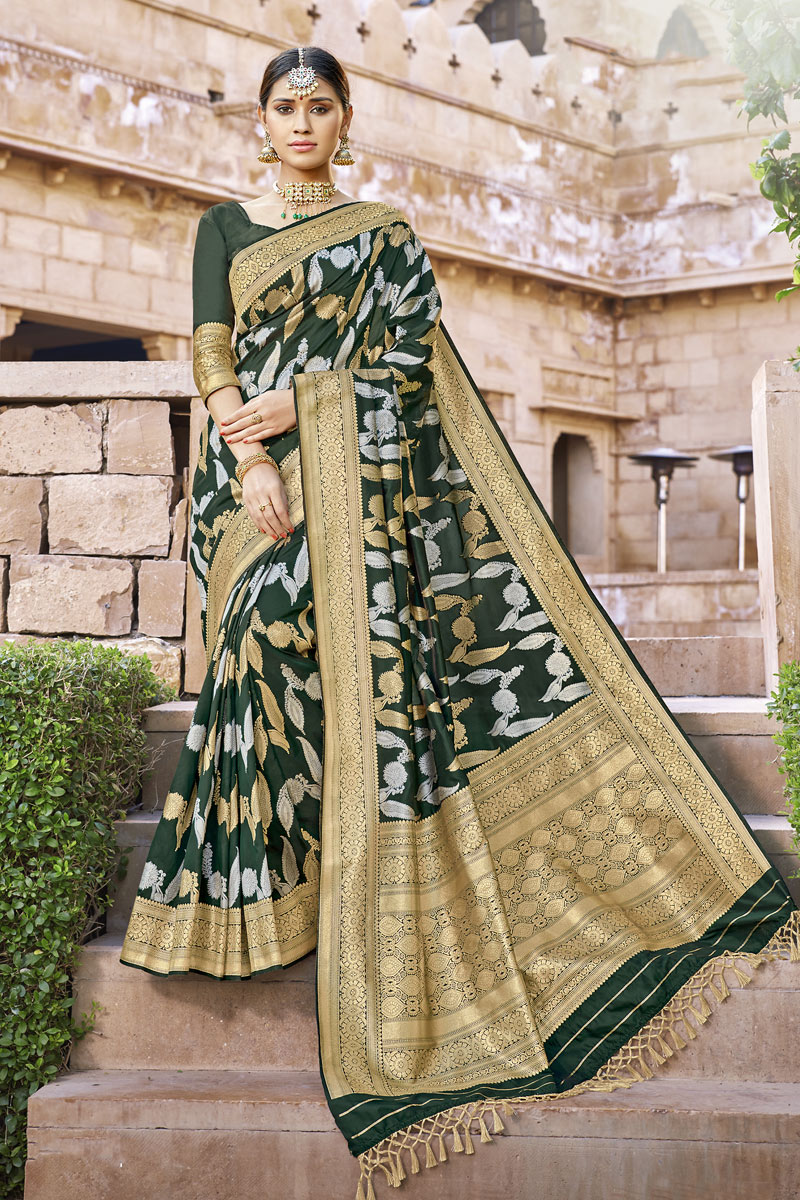 Weaving Work On Dark Green Color Banarasi Silk Fabric Saree For Mehendi Ceremony