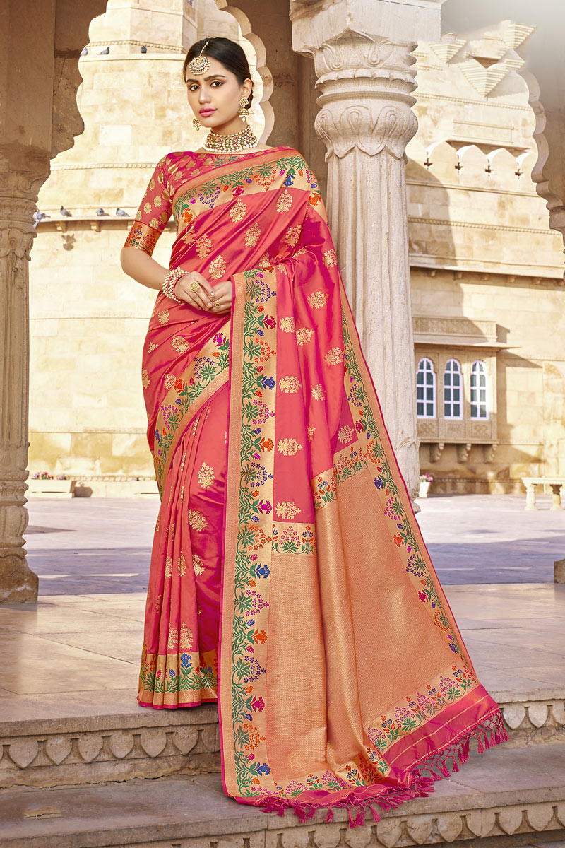 Traditional Banarasi Silk Fabric Saree In Pink Color With Weaving Work For Wedding Function