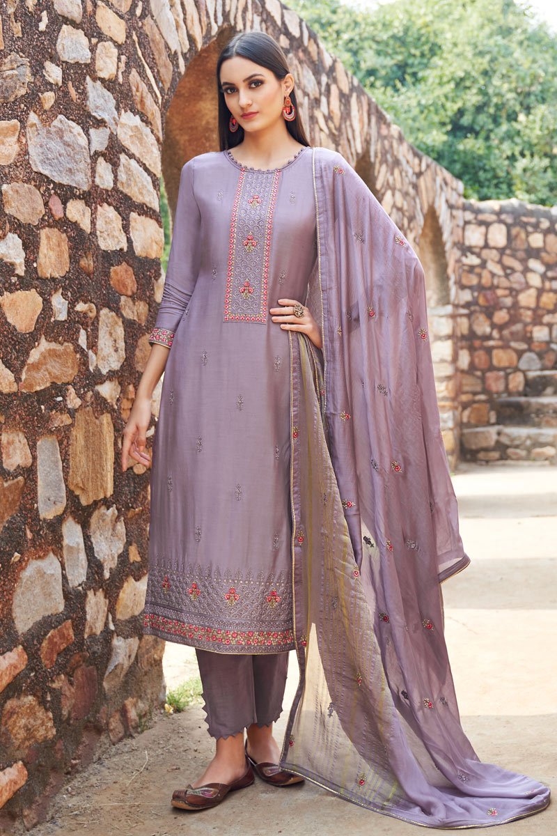 Eid Special Violet Color Designer Embroidered Salwar Kameez In Fancy Fabric