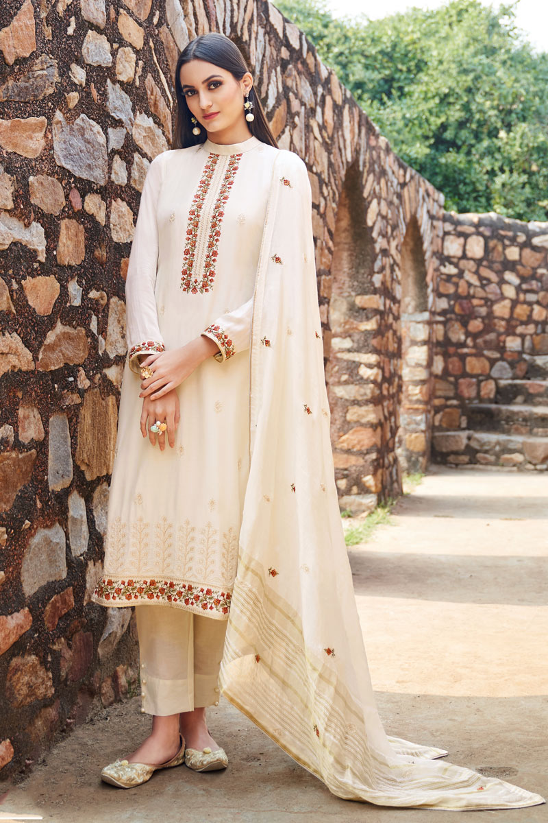 Eid Special Fancy Fabric Party Wear Salwar Suit In Beige Color With Embroidery Work
