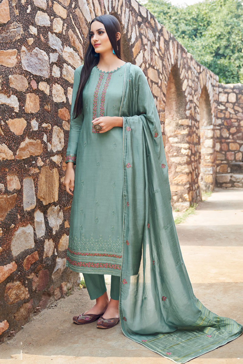 Eid Special Light Cyan Color Fancy Fabric Function Wear Embroidered Suit
