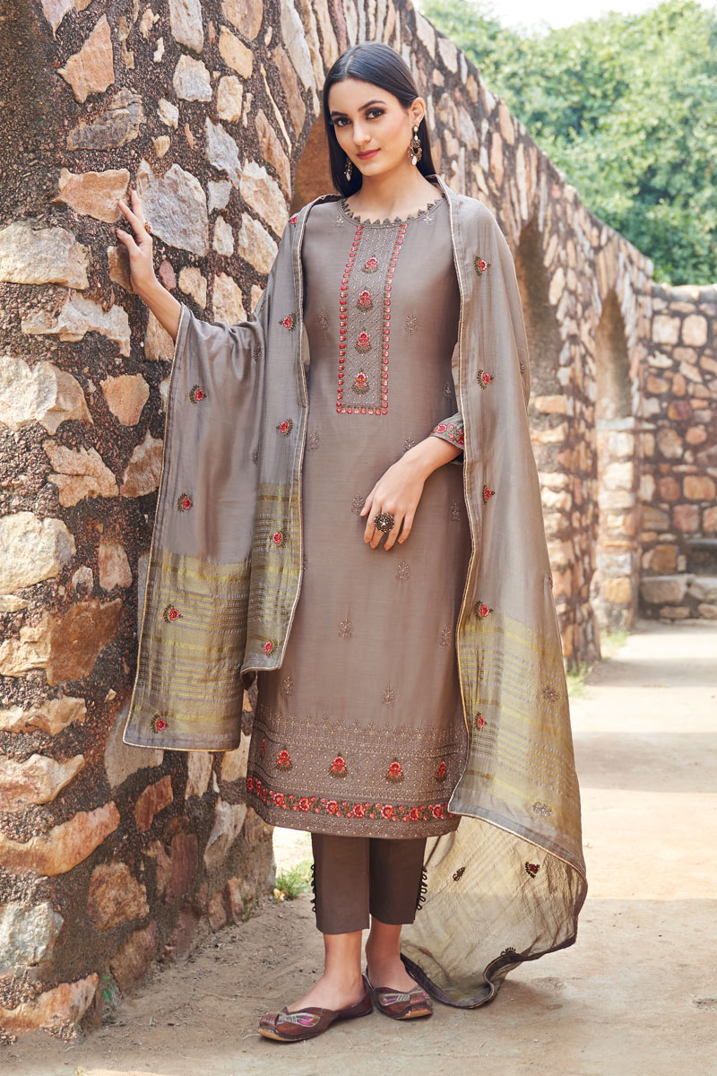 Eid Special Occasion Wear Dark Beige Color Embroidered Salwar Kameez In Fancy Fabric