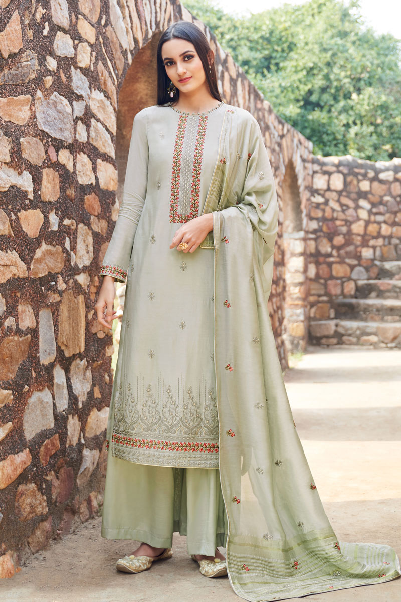 Eid Special Embroidery Work On Cream Color Fancy Fabric Festive Wear Palazzo Suit