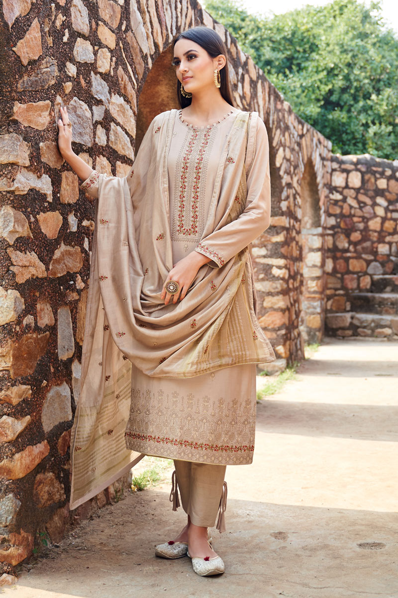 Eid Special Fancy Fabric Chikoo Color Function Wear Suit With Embroidery Work