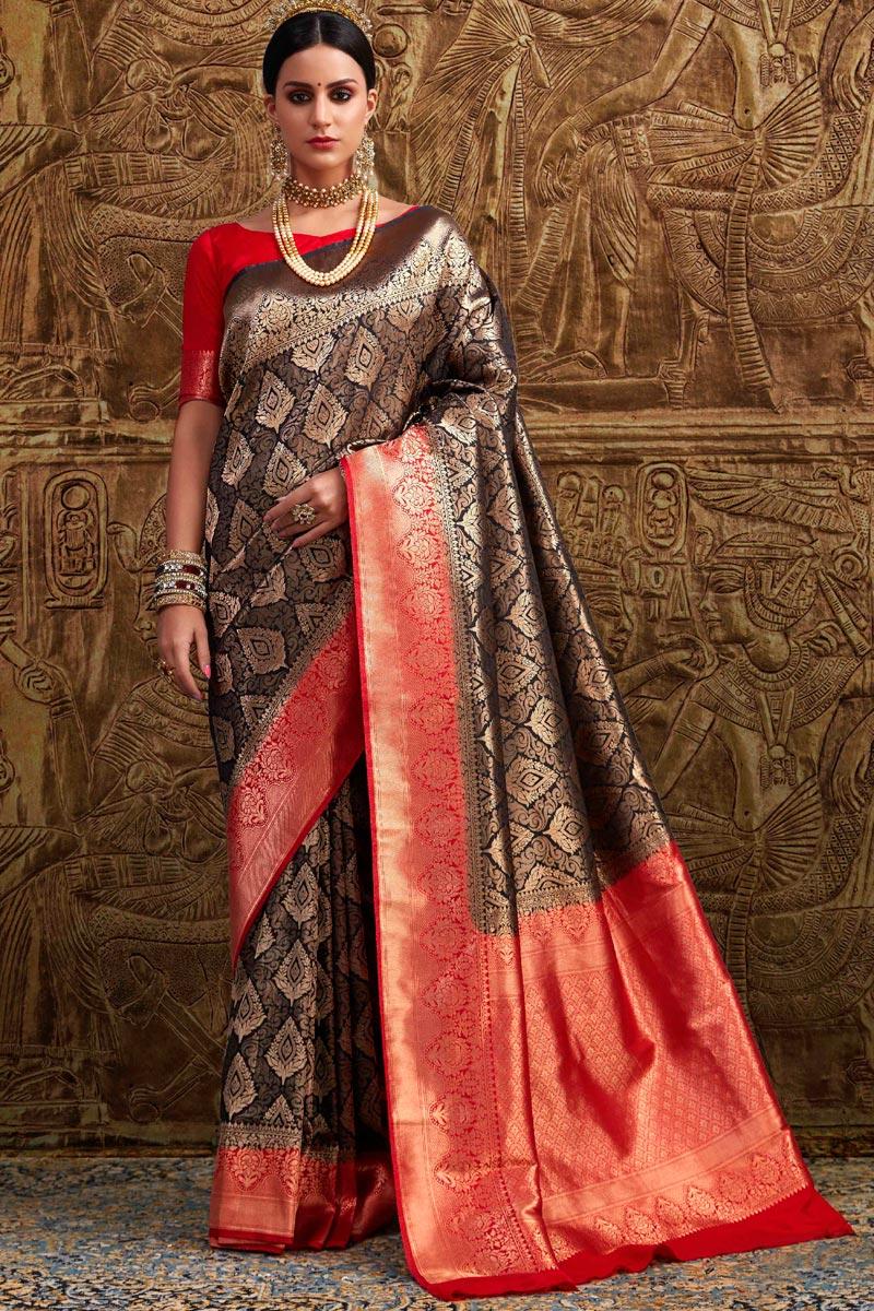 Art Silk Designer Party Style Brown Fancy Weaving Work Saree