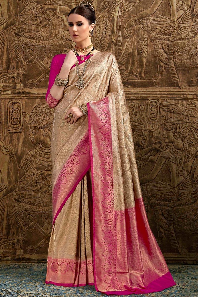 Function Wear Designer Cream Art Silk Fancy Saree With Weaving Work